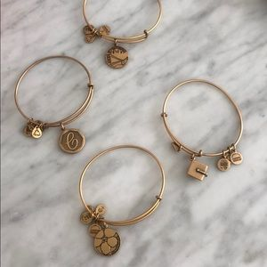 Alex & ani charm bracelets in gold